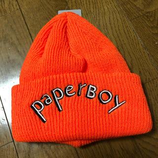 ビームス(BEAMS)のPaperboy × Beams ニットキャップ オレンジ タグ付(ニット帽/ビーニー)