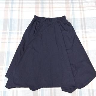 アースミュージックアンドエコロジー(earth music & ecology)の紺色、夏用のスカート【earth】(ひざ丈スカート)