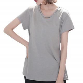 無地 カットソー 半袖 授乳 授乳口 産後 Tシャツ 体型カバー グレー(マタニティトップス)