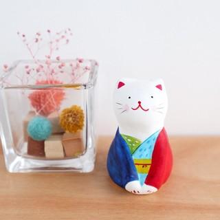 カラフル和服 猫の置物(置物)