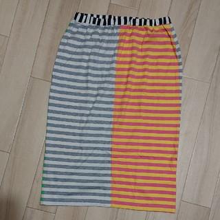 マリメッコ(marimekko)のUSED/marimekkoマリメッコ ボーダーアシメカラースカート(ひざ丈スカート)