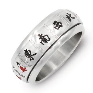 指輪 メンズ リング 麻雀牌 国士無双 360度回転 ステンレス シルバー(リング(指輪))