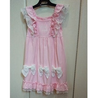 Shirley Temple - シャーリーテンプル 110 りぼん カットソー ワンピース ピンク