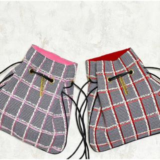 Drawer - シャルマントサック巾着リントンツイードチェックピンクライン
