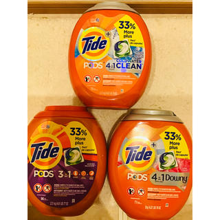 コストコ(コストコ)の3点 特特大 計242個 Gain Tide タイド ジェルボール アメリカ洗剤(洗剤/柔軟剤)