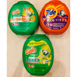 ピーアンドジー(P&G)の3点 特特大 81+81+96個 ゲイン ジェルボール アメリカ 洗濯洗剤(洗剤/柔軟剤)
