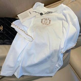 シャネル(CHANEL)の新製品 チェーンデザインロゴ レディース半袖Tシャツ(シャツ/ブラウス(半袖/袖なし))