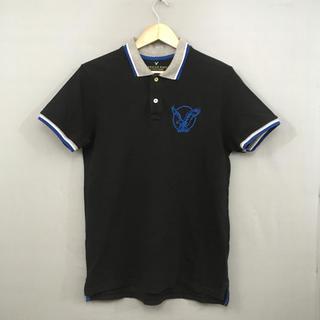アメリカンイーグル(American Eagle)のアメリカンイーグル AMERICAM EAGLE ポロシャツ半袖 ブラック 黒色(ポロシャツ)