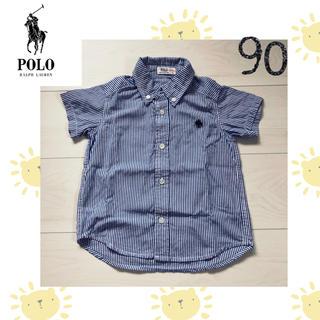 シマムラ(しまむら)のPOLO baby♡美品ストライプ柄シャツ 紺色 青 90(ブラウス)