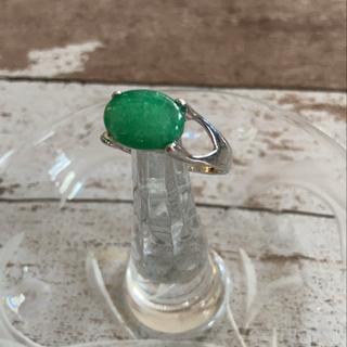 【アンティークリング】エメラルドグリーン×シルバー 重ね付けにも古着好きさんに♪(リング(指輪))