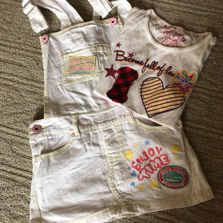 ピンクラテ(PINK-latte)のピンクラテ sサイズ ジャンバースカートとロゴTシャツセット(スカート)