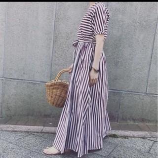 ツルバイマリコオイカワ(TSURU by Mariko Oikawa)のtsuru ストライプ カシュクール マキシワンピース(ロングワンピース/マキシワンピース)