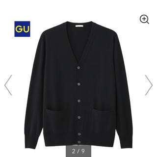 GU - ハイゲージVネックカーディガン (長袖) 黒 ブラック 黒色 black