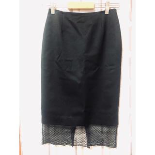 アンナモリナーリ(ANNA MOLINARI)のアンナモリナーリ 裾レース タイトスカート 黒 美品(ひざ丈スカート)