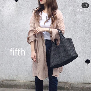 フィフス(fifth)のfifth リネンライクロングシャツ ピンクブラウン(シャツ/ブラウス(長袖/七分))