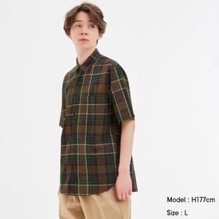 ジーユー(GU)のリネンブレンドシャツ(半袖)(シャツ)