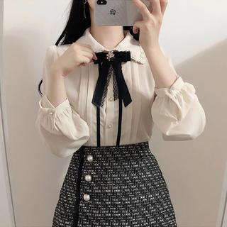 今期新作XL 大きいサイズ量産型ブラウス秋物リボン 長袖 秋物 韓国ファッション(シャツ/ブラウス(長袖/七分))