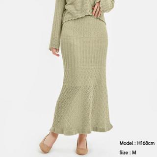 ジーユー(GU)の透かし編みニットスカート ピスタチオグリーン M(ロングスカート)