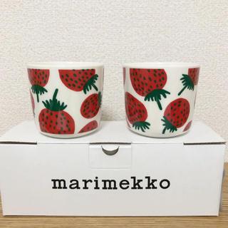 マリメッコ(marimekko)のマリメッコ マンシッカ ラテマグ 2個セット 新品 マグ いちご 苺(グラス/カップ)