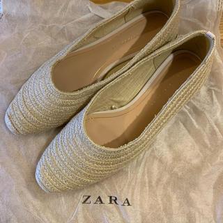 ザラ(ZARA)のZARA ジュート素材 フラットパンプス 39サイズ(ハイヒール/パンプス)