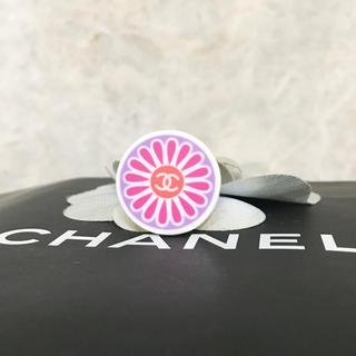 シャネル(CHANEL)の正規品 シャネル 指輪 フラワー ココマーク ロゴ 花 ホワイト ピンク リング(リング(指輪))