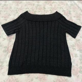ファビュラスアンジェラ(Fabulous Angela)のニットトップス リブニット Tシャツ カットソー ブラック 黒(カットソー(半袖/袖なし))