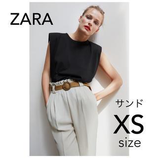 ZARA - 新品未使用 ZARA ラフィアベルト付きパンツ サンド ベージュXSサイズ