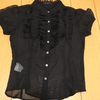 プライドグライド(prideglide)のプライドグライド ブラック半袖シャツ ふりるブラウス  36(シャツ/ブラウス(半袖/袖なし))