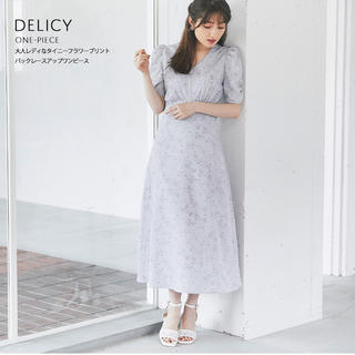 tocco - 大人レディなタイニーフラワープリントバックレースアップワンピース【delicy