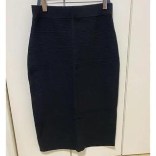 ユニクロ(UNIQLO)のUNIQLO リブタイトスカート ブラック(ひざ丈スカート)