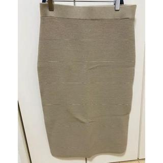 ユニクロ(UNIQLO)のUNIQLO リブタイトスカート ベージュ(ひざ丈スカート)