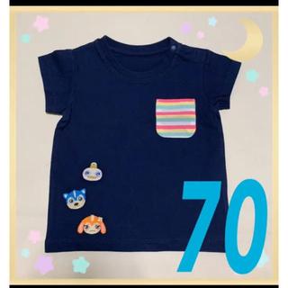 ユニクロ(UNIQLO)の❶新品 ユニクロ トップス  女の子 男の子 70 ガラピコぷー ネイビー(Tシャツ)