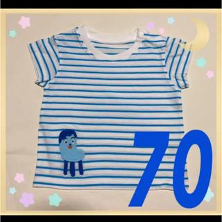 ユニクロ(UNIQLO)の❶新品 ユニクロ トップス 男の子 女の子 70 コッシー 水色 みいつけた!(Tシャツ)