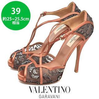 VALENTINO - 美品❤ヴァレンティノ レース ビジュ サテン パンプス 39(約25-25.5