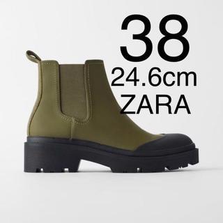 ザラ(ZARA)のZARA ザラ 新品 フラットアンクルブーツ 38(ブーツ)