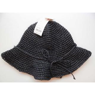 ユニクロ(UNIQLO)の新品ユニクロUNIQLOペーパーハット黒ブラックFREE(麦わら帽子/ストローハット)