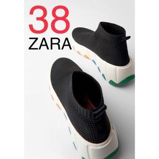 ザラ(ZARA)のZARA ザラ 新品 マルチカラーソール ハイカット スニーカー 38(スニーカー)