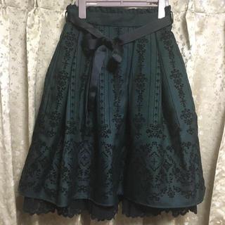 axes femme - フロッキープリント深緑スカート/アクシーズファム/ロリータ/ハロウィン/アンプリ