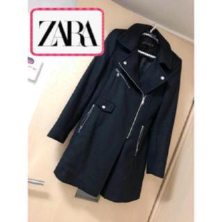 ザラ(ZARA)のZARA  美品 完売のコート ブラック ライダース ジップコート 17000円(チェスターコート)