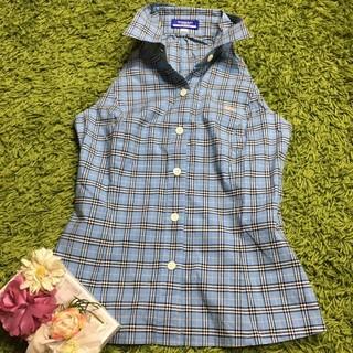BURBERRY BLUE LABEL - burberryバーバリーブルーレーベル 定番チェックノースリーブシャツ