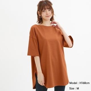 GU - GUヘビーウェイトオーバーサイズT(5分袖)オレンジ Lサイズ ORANGE