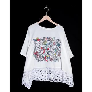 スカラー(ScoLar)のスカラー ScoLar  裾レース刺繍プルオーバー新品 未使用品(Tシャツ(長袖/七分))