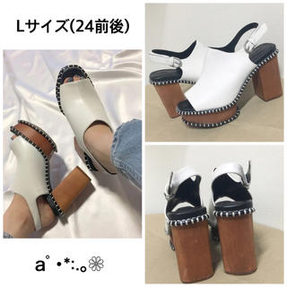 moussy - MOUSSY WOODEN SOLE SABOT ホワイトL