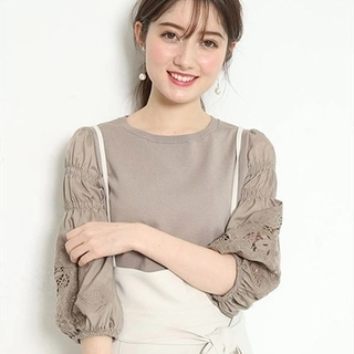 Rirandture - 刺繍袖ボリュームニット