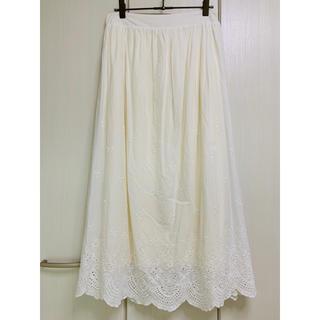 ❗️sale❗️刺繍 レース マキシスカート 白オフホワイト(ロングスカート)