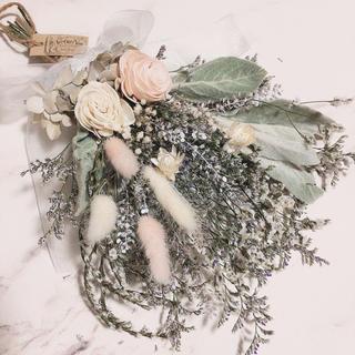 【限定1点】 バラ × ラムズイヤー WHITE PINK スワッグ ブーケ(ドライフラワー)