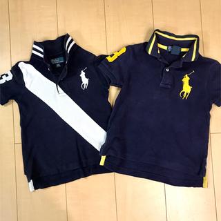 POLO RALPH LAUREN - 90cm〜100cm  ラルフローレン 半袖ポロシャツ ラガーシャツ 紺白