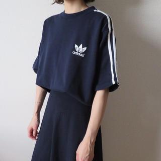 adidas - 90s アディダス ラインTシャツ 半袖スウェット 古着女子 vintage