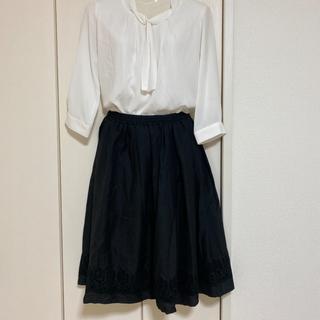 シマムラ(しまむら)のミディアム スカート ブラック(ひざ丈スカート)