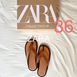 ザラ(ZARA)のZARA トップステッチ入りフラットサンダル 36 金子麻貴 TODAYFUL(サンダル)